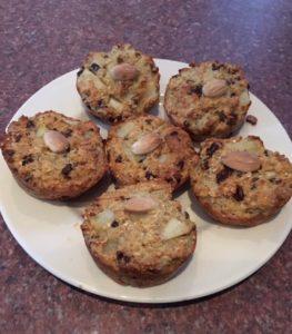 peer-rozijnen muffins
